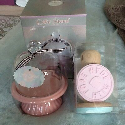 brand new mini ceramic/ glass cake stand and cookie making stamps