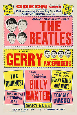 The Beatles & Gerry & The Pacemakers at ODEON Theatre UK Poster 1963 13x19
