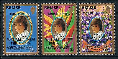 Belize 1982 Birth of Prince William Perf 14 SPECIAL PRINTING SG 707/9 MNH