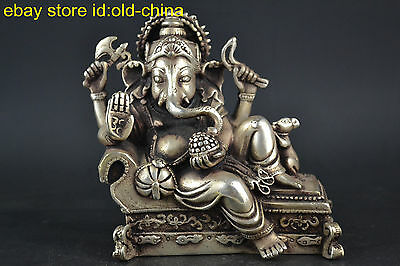 China Collectible Buddhism Vintage Old Tibet Silver Elephant Bodhisattva Statue