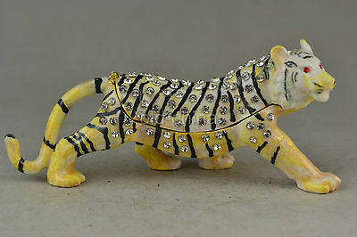 China Collectible Decorate Cloisonne Handmade Animal Tiger Box Statue Noble