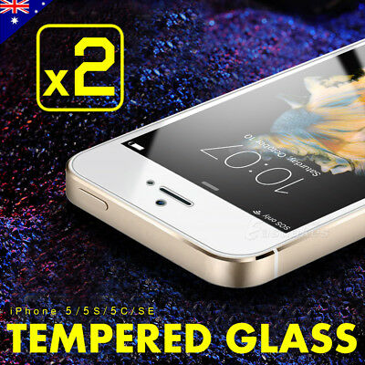 2x Scratch Resist Tempered Glass Screen Protector Guard for Apple 5s 5c 5 SE