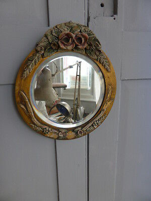 Antique 1930s bevelled wall mirror carved flower decoration