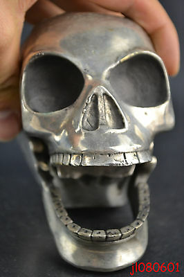 Collectible China Handwork Old Copper Silver Plate Skull Sculpture Soul Statue