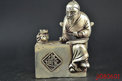 China Collectible Decor Lifelike Old Copper Silver Plate Accountant Man Statue
