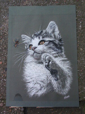Manx Signed Charcoal Pastels Drawing Of A Cat & Bee On Paper
