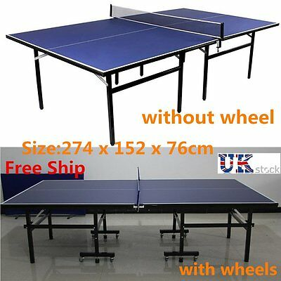 Practical Indoor Outdoor Table Tennis Ping Pong Table Blue Full Size Foldable
