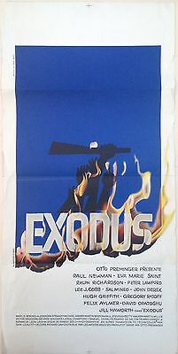 Exodus Ancienne Affiche Cinema Lithographie Originale Saul Bass Paul Newman