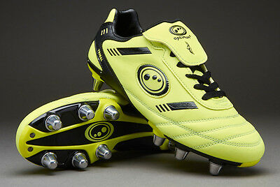 Optimum Tribal 8 Stud Yellow Black Mens Rugby Boots Size UK 8