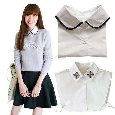 Sweet women's Cotton Detachable Faux Fake Lapel Shirt  Necklace Removable lot