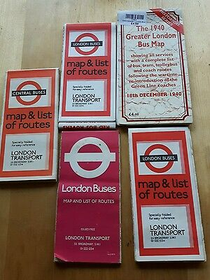 Lot of London Buses bus maps 1940s, 1960s, 1970s