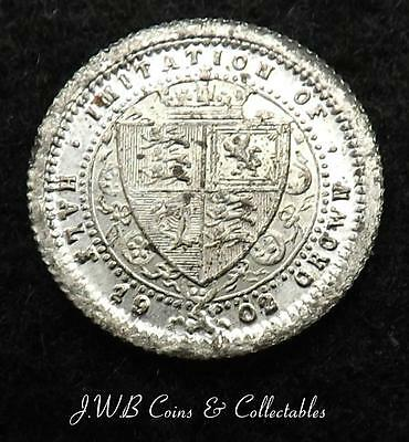 Tiny 1902 Edward VII Model Half Crown Coin By Lauer Toy Money Ref - T/M