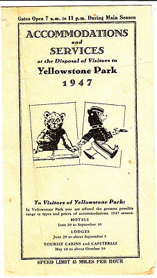 Accommodations and Services Visitors Yellowstone Park 1947 Brochure