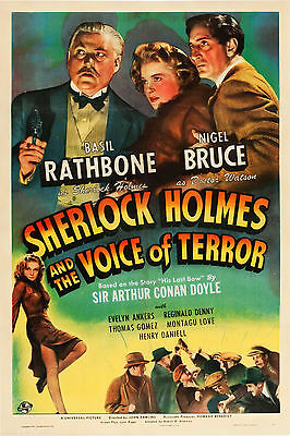 Sherlock Holmes And The Voice Of Terror Laminated A4 Mini Movie Poster Rathbone