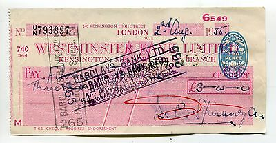 Westminster Bank cheque - Kensington branch - used 1955 in Malta - revenue stamp