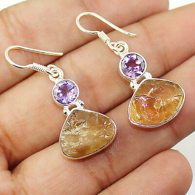 Citrine Rough & Amethyst 925 Sterling Silver Earring Jewelry E-144
