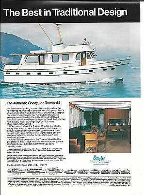 1975 Cheoy Lee Shipyards Color Ad- Nice Photo of Cheoy Lee 55 Trawler