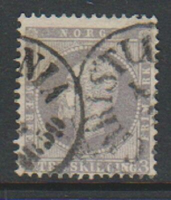 Norway - 1857, 3sk Lilac stamp - Used - SG 6