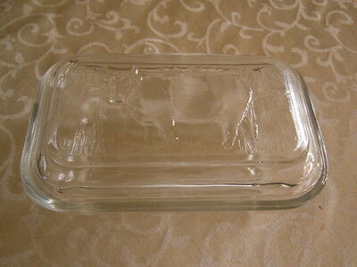 Vintage Arc France clear Butter dish with cow embossed lid