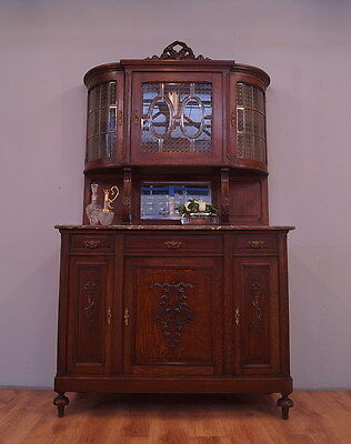 1303 !!stunning Oak Dresser/cabinet With Marble Top In French Style !!