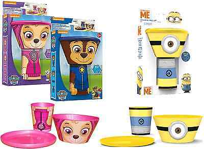 3Pcs Kids Character Stacking Meal Set Bowl Plate Mug Paw Patrol Dining Breakfast