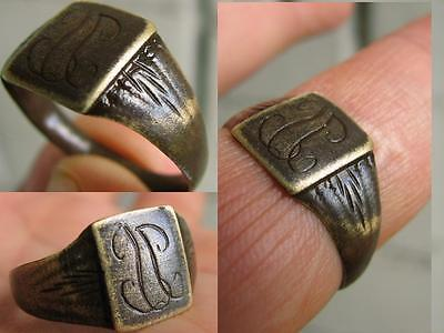 NICE BRONZE MEDIEVAL  RING with ORNAMENT   # 4524