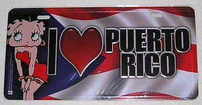 Betty Boop I LOVE PUERTO RICO (LICENSE PLATE) Brand New
