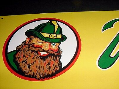 GNOME GRAPHICS ~ NEAR MINT 1950s Vintage VERNOR'S GINGER ALE Old Tin Sign