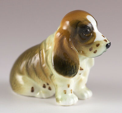 Vintage Miniature Bug House Bone China Basset Hound Dog Figurine Glossy Japan