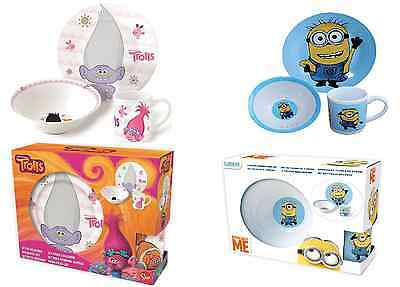 Childrens Trolls & Minions Ceramic 3 Piece Dinner Breakfast Set Plate Bowl Mug