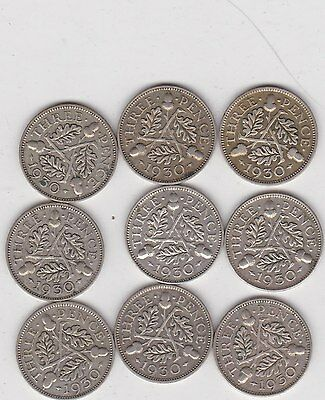 Nine Key Date 1930 Silver Threepences In Good Fine Or Better Condition