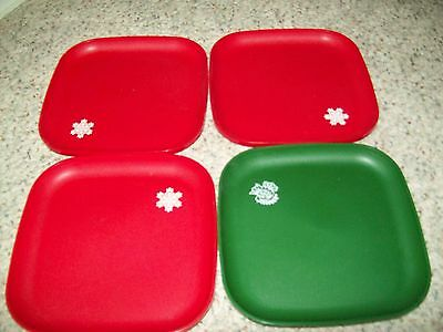 4 Tupperware Christmas Luncheon Plates 3 Red And 1 Green