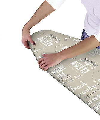 Country Club Multi Fit Elasticated Ironing Board Cover Text Double Layer Back