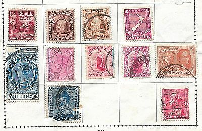 NEW ZEALAND,, ten good items on album page,, fine used, bargain