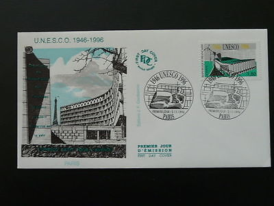 Unesco United Nations 50 years Eiffel Tower FDC 45502