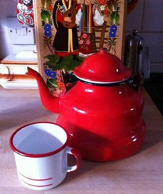 Vintage Polish Folky Red Enamel Kettle Great For Display Or Camping