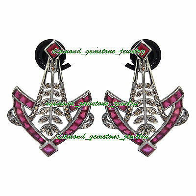 10.35c ROSE CUT DIAMOND NATURAL RUBY VICTORIAN WEDDING 925 SILVER DANGLE-EARRING