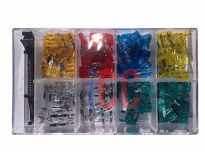 Car small MINI size blade fuses 120pc 5 10 15 20 25 30 amp + removal tool boat