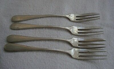 ANTIQUE SET OF FOUR WHITE METAL 800 SILVER CAKE FORKS CONTINENTAL MAKER S.G.60gm