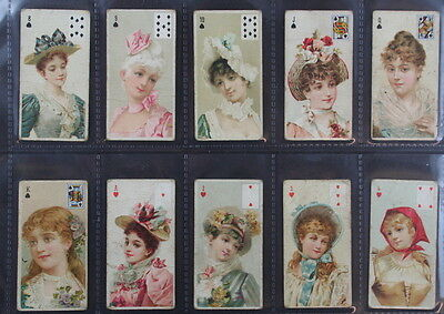 1897 Wills Beauties playing cards complete set of 52. Good to fine. Rare set.