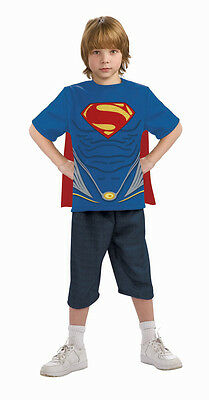 Superman Man Of Steel Costume Top & Cape Child