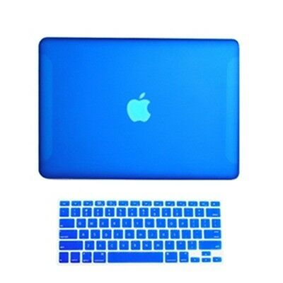 """2 in1 Rubberized ROYAL BLUE Case for Macbook White 13"""" A1342 with Keyboard Cover"""