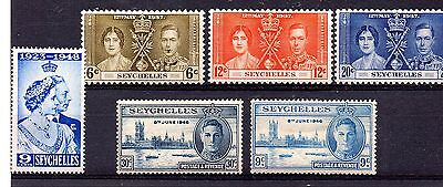 Seychelles (993)  King George V1  2 x sets+ lightly mounted mint Sg132-4 & 150/1