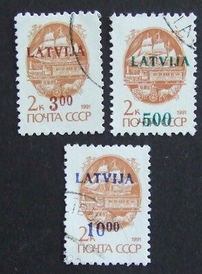 3 Russian stamps overprinted with Latvia and new values