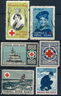 Norway , Old Lot Of 6 Different Red Cross Poster Stamps #a2217