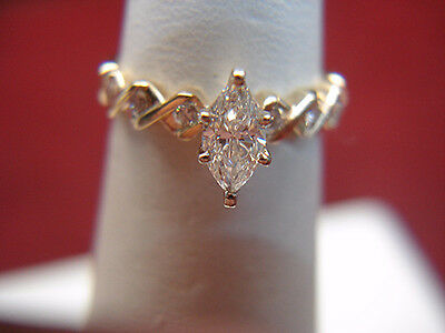 14K Yellow Gold 1/2 Ctw Diamond Ring With Center Marquise - Nice