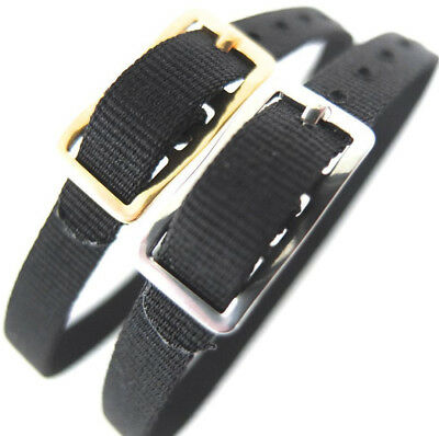 8mm DARLENA BLACK WASHABLE NYLON ONE PIECE WATCH STRAP EASY FIT GOLD or SILVER