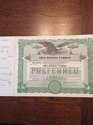 Allen Garment Co. Unused  Shares Nice Picture Of Eagle INVALID SHARE CERTIFICATE