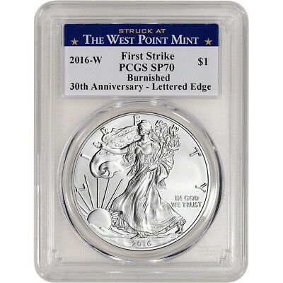 2016-W American Silver Eagle Burnished - PCGS SP70 First Strike West Point Label