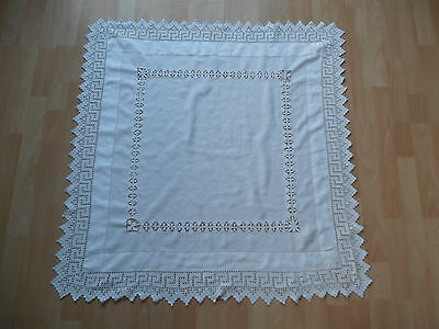 Vintage Linen Cotton And Lace Square Tablecloth